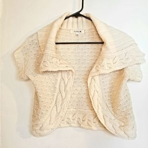 Hurley rare! cream knit shrug, sample size medium